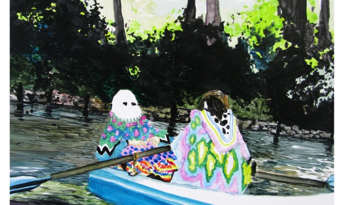 Grant Nimmo,  boating trip with techno mum , 2010, oil on German bechwood, 30 x 30cm