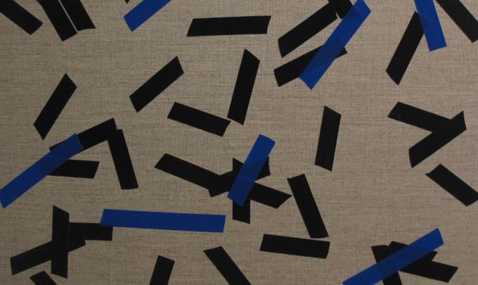 Billy Gruner, Folk-Tape work No. 6 (Black Blue),  2012, electrical tape, linen artboard, 40 x 50cm
