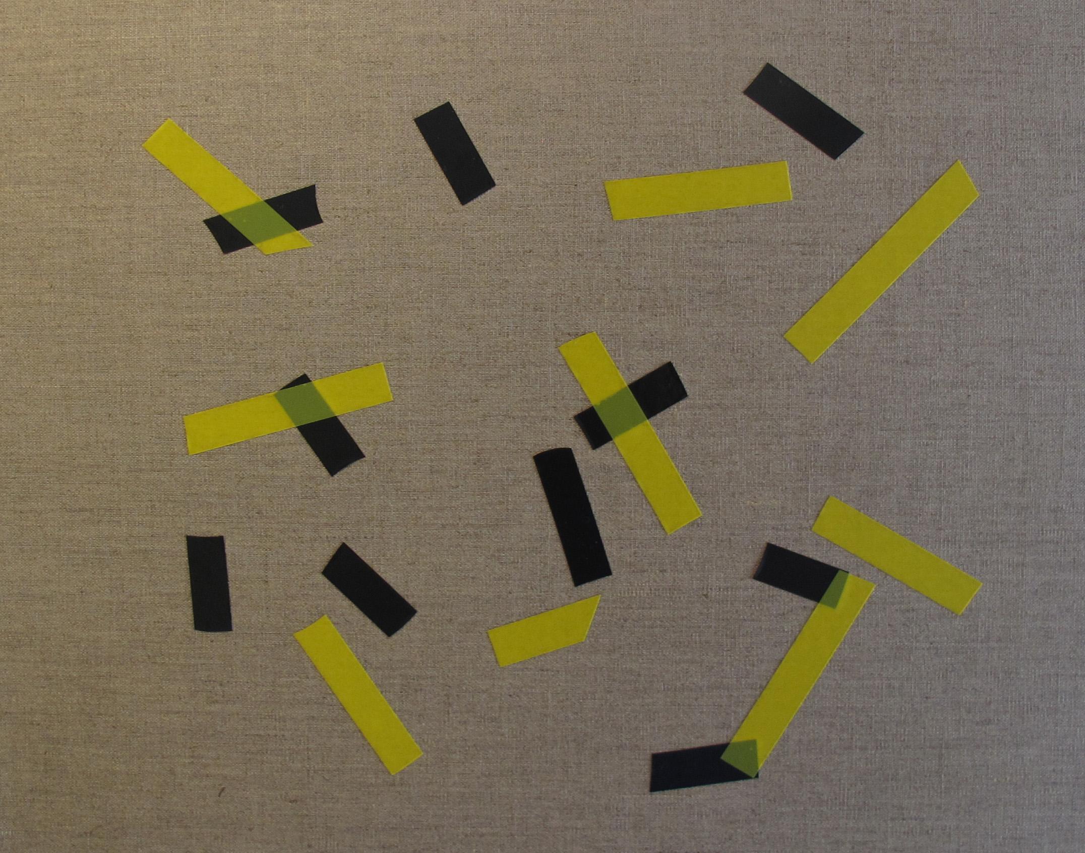Billy Gruner,  Folk-Tape work No. 4 (Black Yellow),  2012, electrical tape, linen artboard, 40 x 50cm