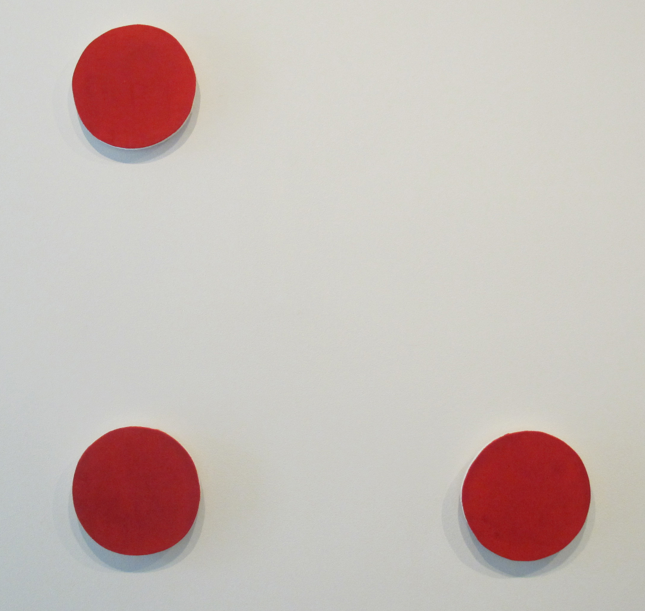 Sarah Keighery,  Additive 16255 (Line) , 2012, food colouring, canvas on plywood, 3 x 20cm discs