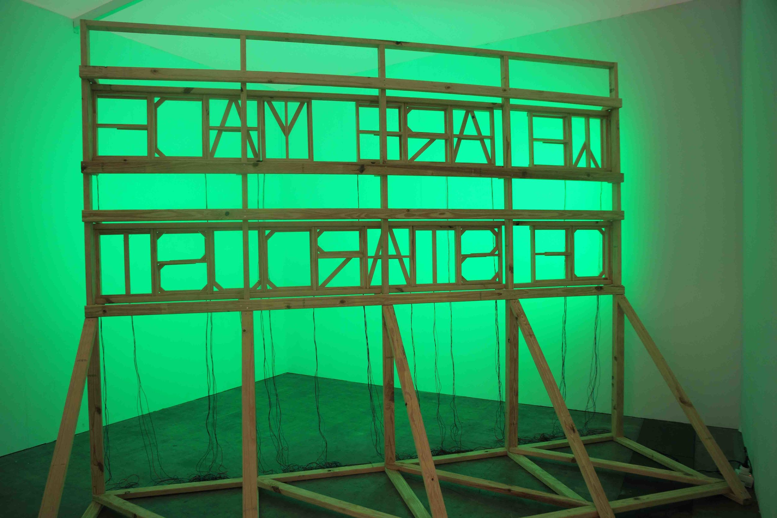Michaela Gleave,  We Are Made of Stardust , 2011-2012, pine structure, LEDs, RGB controller, 2.30 min colour loop, 400 x 120 x 300cm