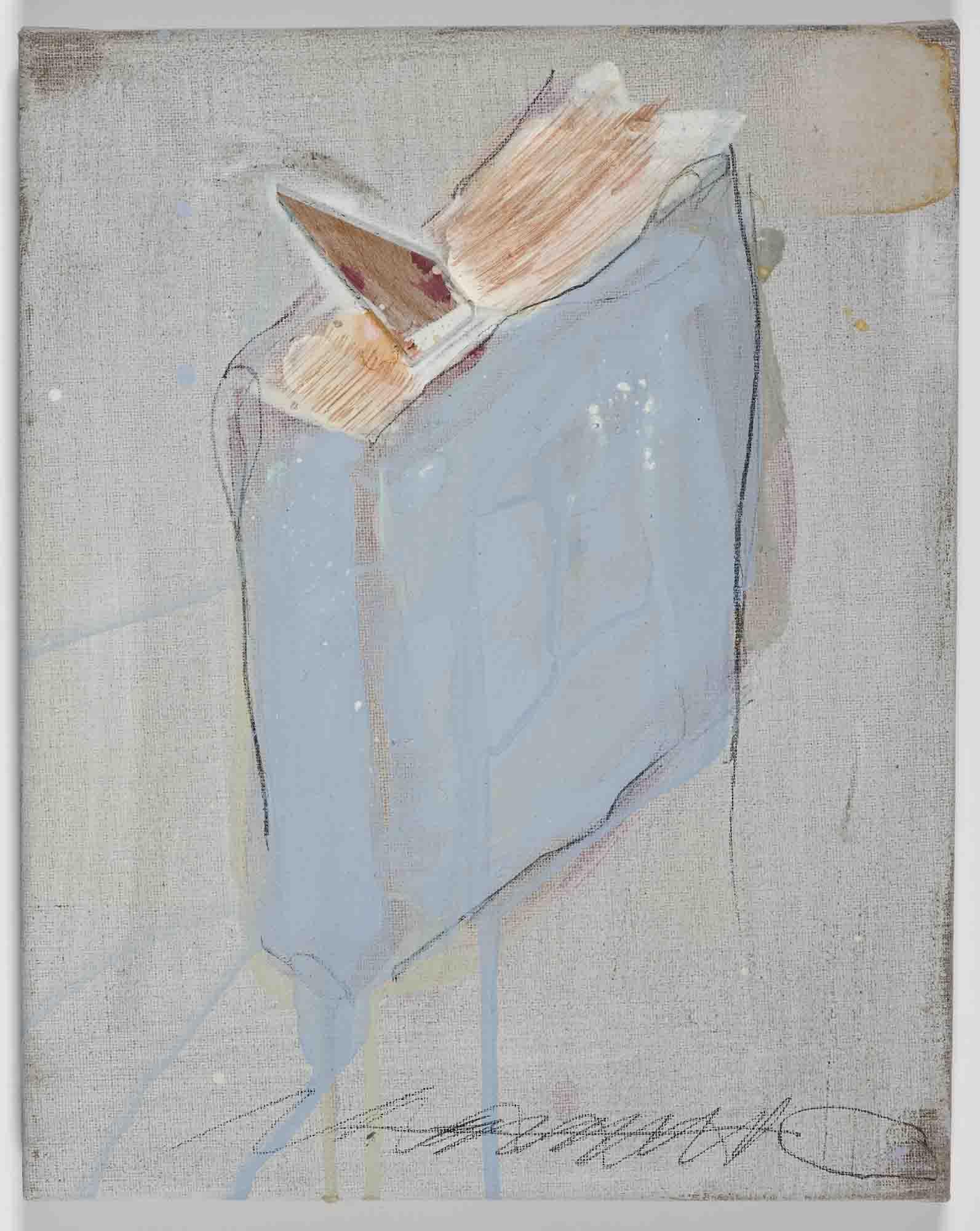 Matthew Bax,  Chapter 7 , 2011, acrylic, pencil, wax, binder, wood on linen, 30 x 30cm
