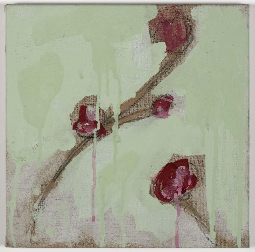 Matthew Bax,  Creeping Floral – Mint 2,  2011, acrylic, pencil, wax crayon, binders on linen, 30 x 30cm