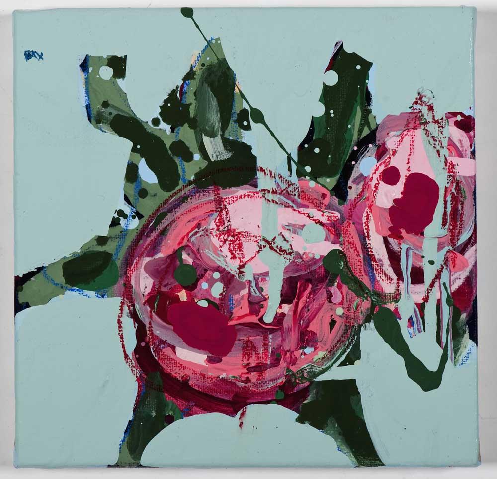 Matthew Bax,  English Rose – Sky Blue 1 , 2011, acrylic, wax crayon, binders on linen, 20 x 20cm