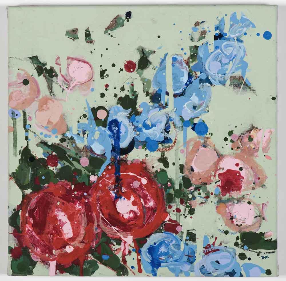 Matthew Bax,  Meredith – Mint 1,  2011, acrylic, pencil, charcoal, wax crayon, binders on linen, 30 x 30cm