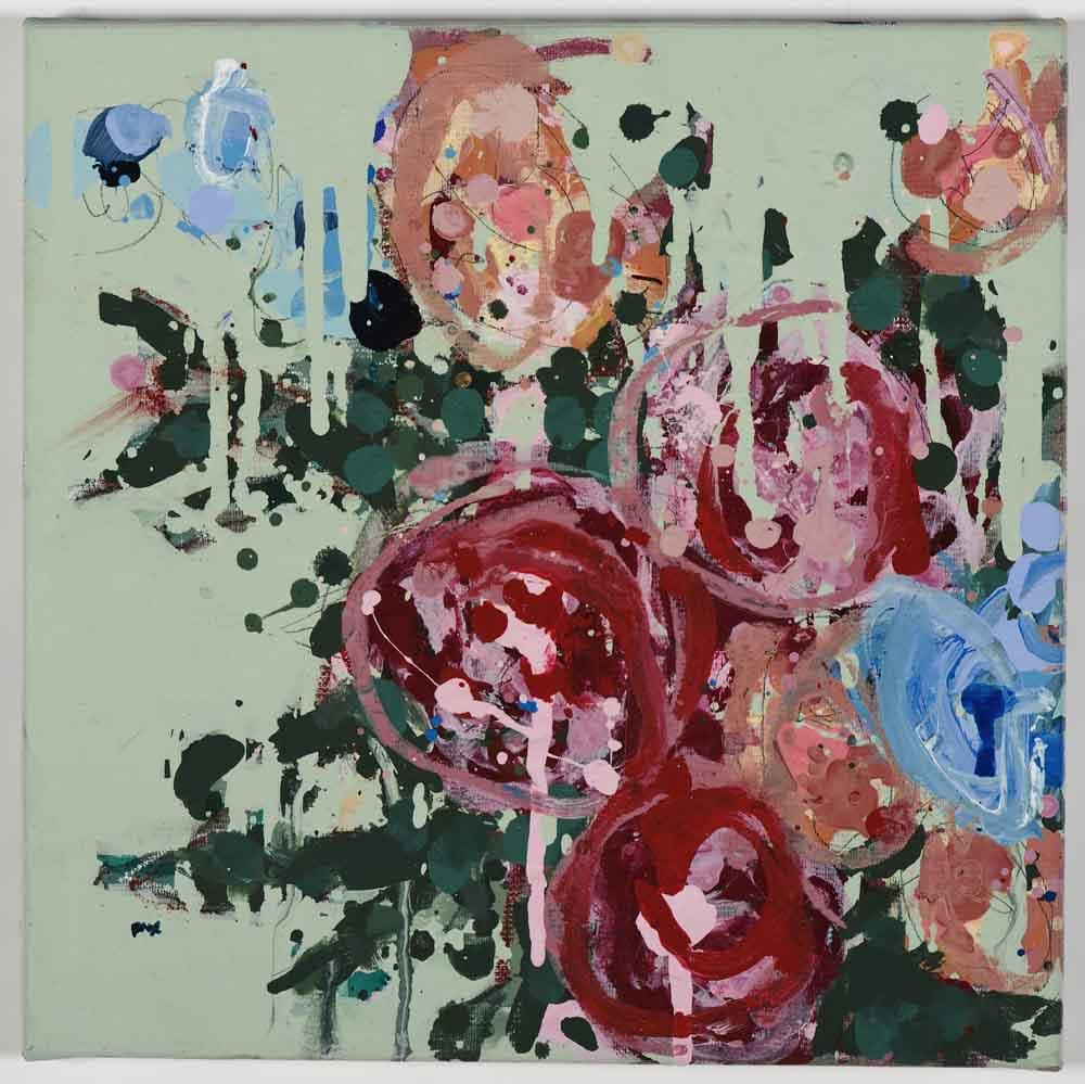 Matthew Bax,  Meredith – Mint 2 , 2011, acrylic, pencil, charcoal, wax crayon, binders on linen, 30 x 30cm