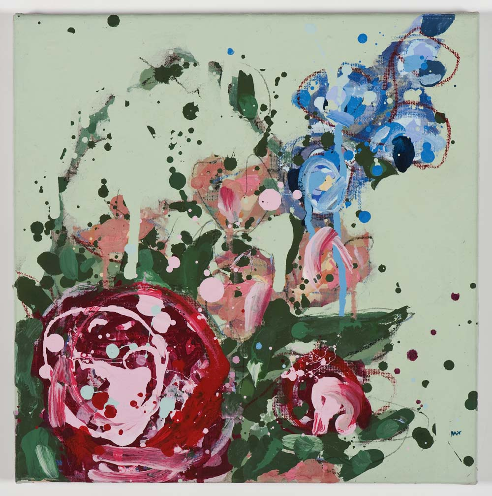 Matthew Bax,  Meredith – Mint 3,  2011, acrylic, pencil, wax crayon, binders on linen, 30 x 30cm