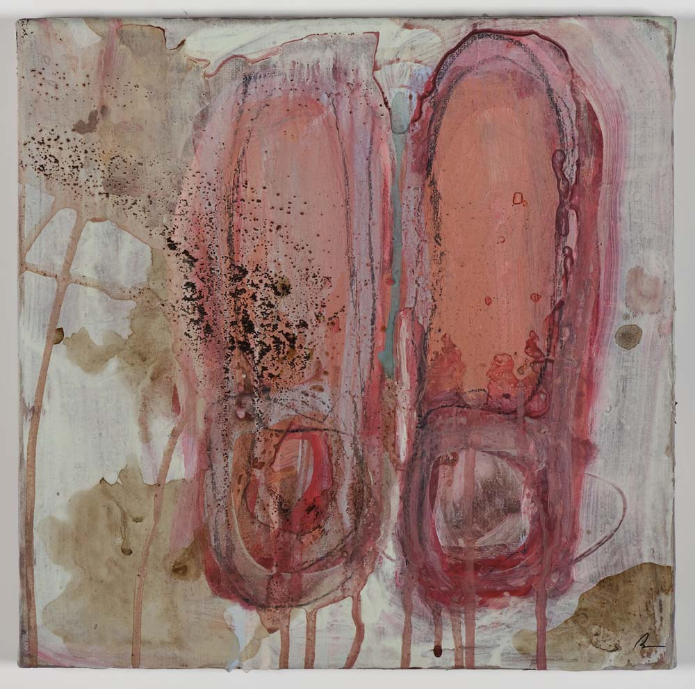 Matthew Bax,  Mod Con 2,  2011, acrylic, pencil, espresso, binders on linen, 30 x 30cm