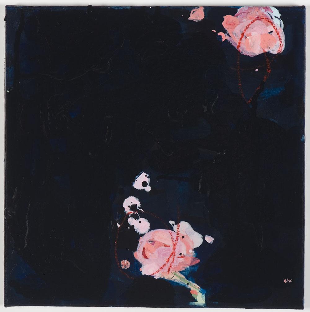 Matthew Bax,  Rose Garden – Navy 1,  2012, acrylic, pencil, charcoal, wax crayon, binders on linen, 30 x 60cm. part1