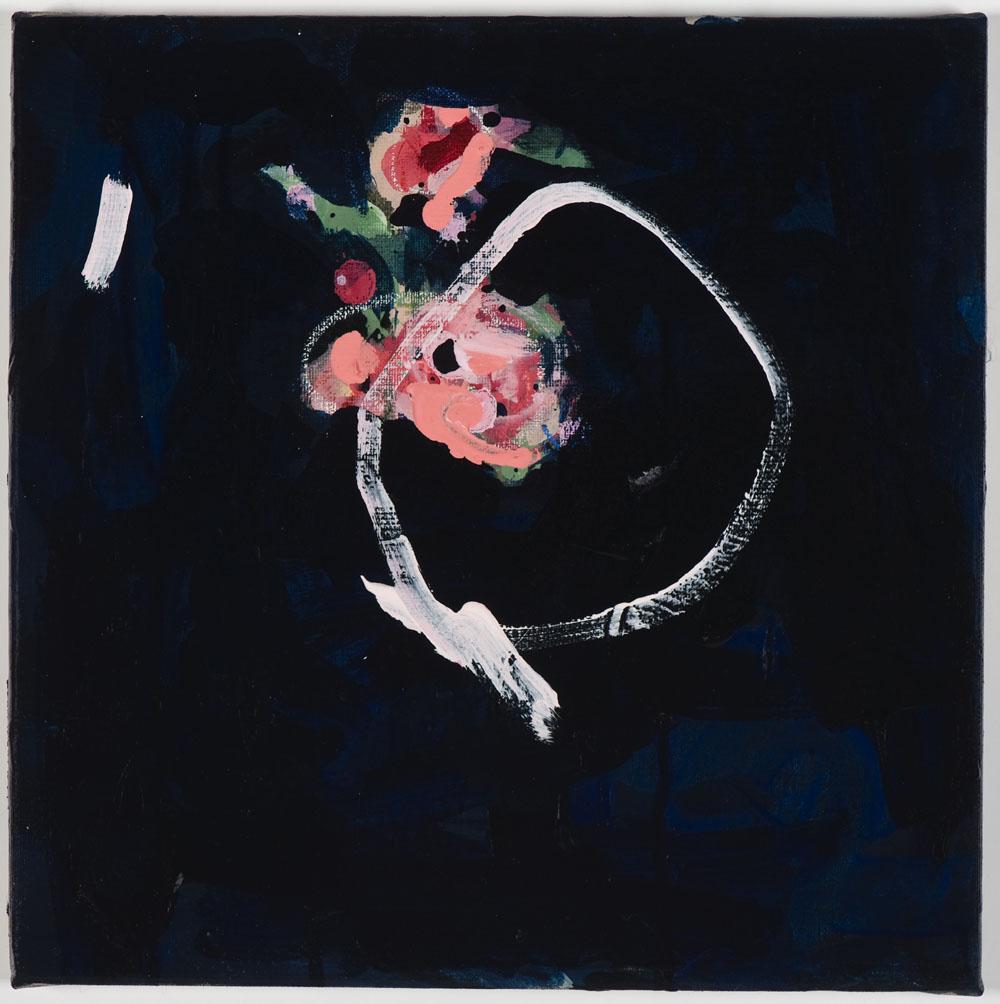 Matthew Bax,  Rose Garden – Navy 1,  diptych, 2012, acrylic, pencil, charcoal, wax crayon, binders on linen, 30 x 60cm, part 2