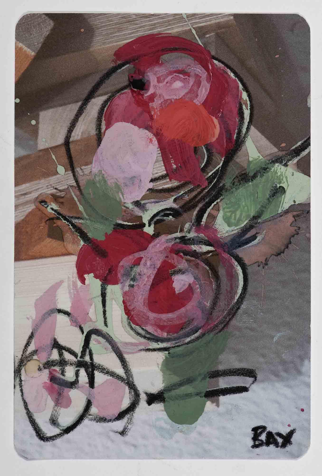 Matthew Bax,  Sample Cosy Escape , 2012, acrylic, charcoal, pencil, wax crayon on paper, 15 x 10cm