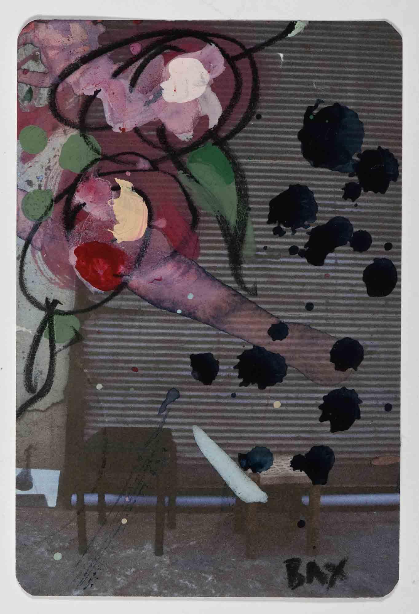 Matthew Bax,  Sample Garden Romance 1 , 2012, acrylic, charcoal, pencil, wax crayon on paper, 15 x 10cm