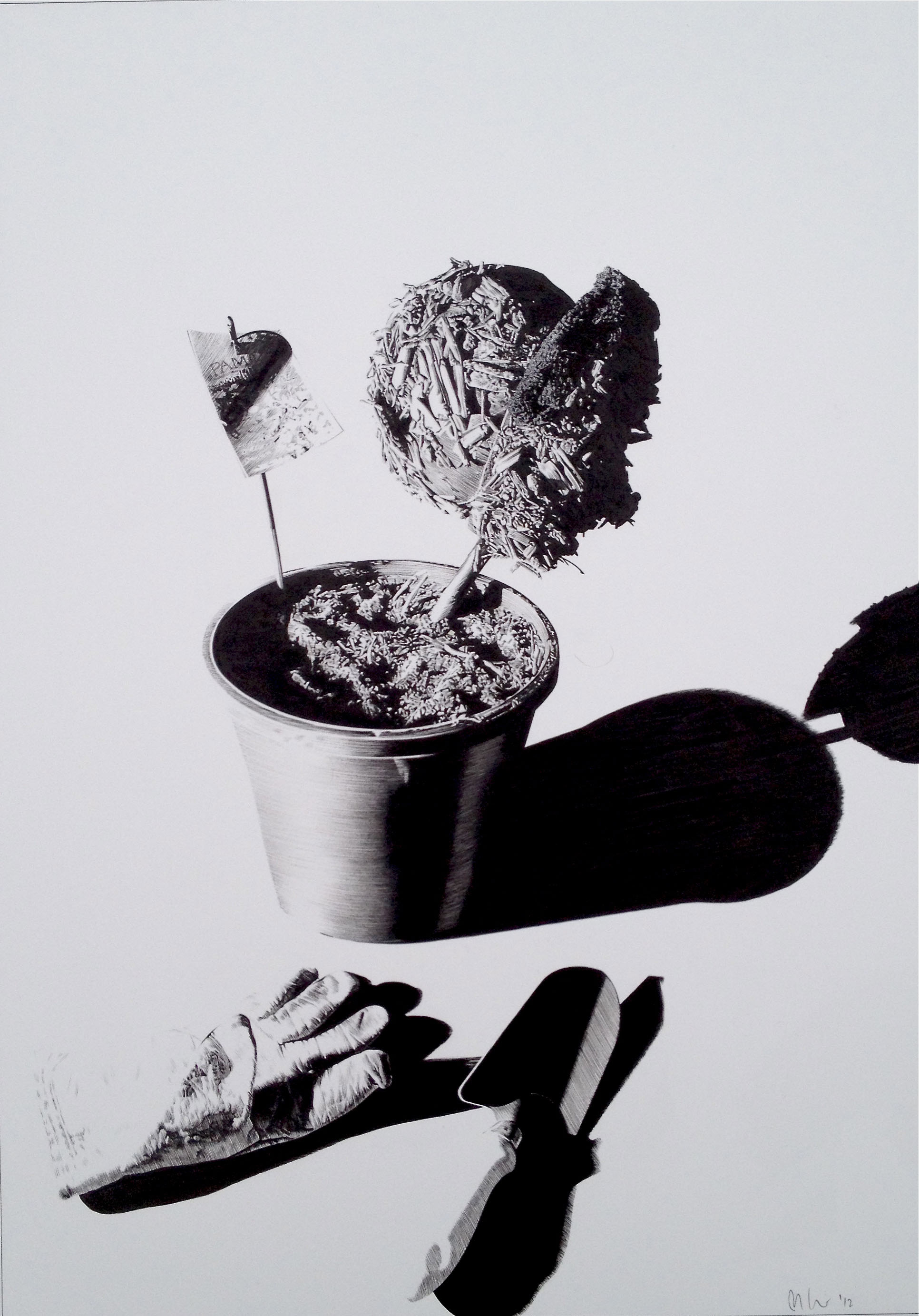 Matt Coyle,  Green Thumb , 2012, pen on paper, 42 x 60cm