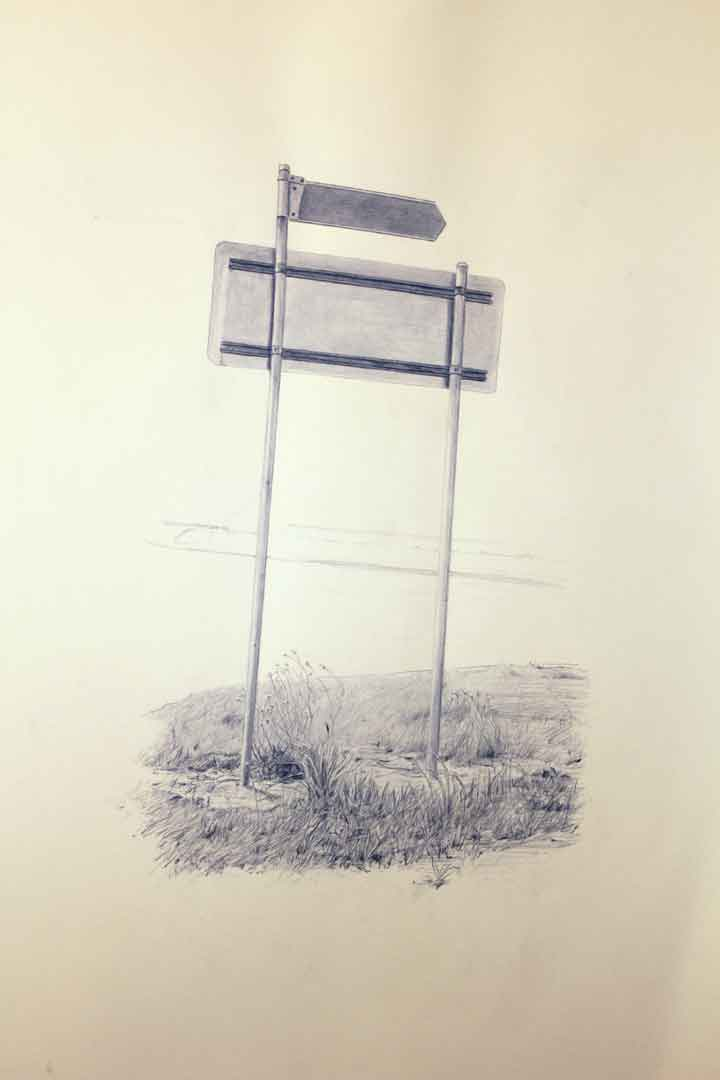 Vin Ryan,  Sign, Sunshine,  2011, pencil on paper, 77 x55cm
