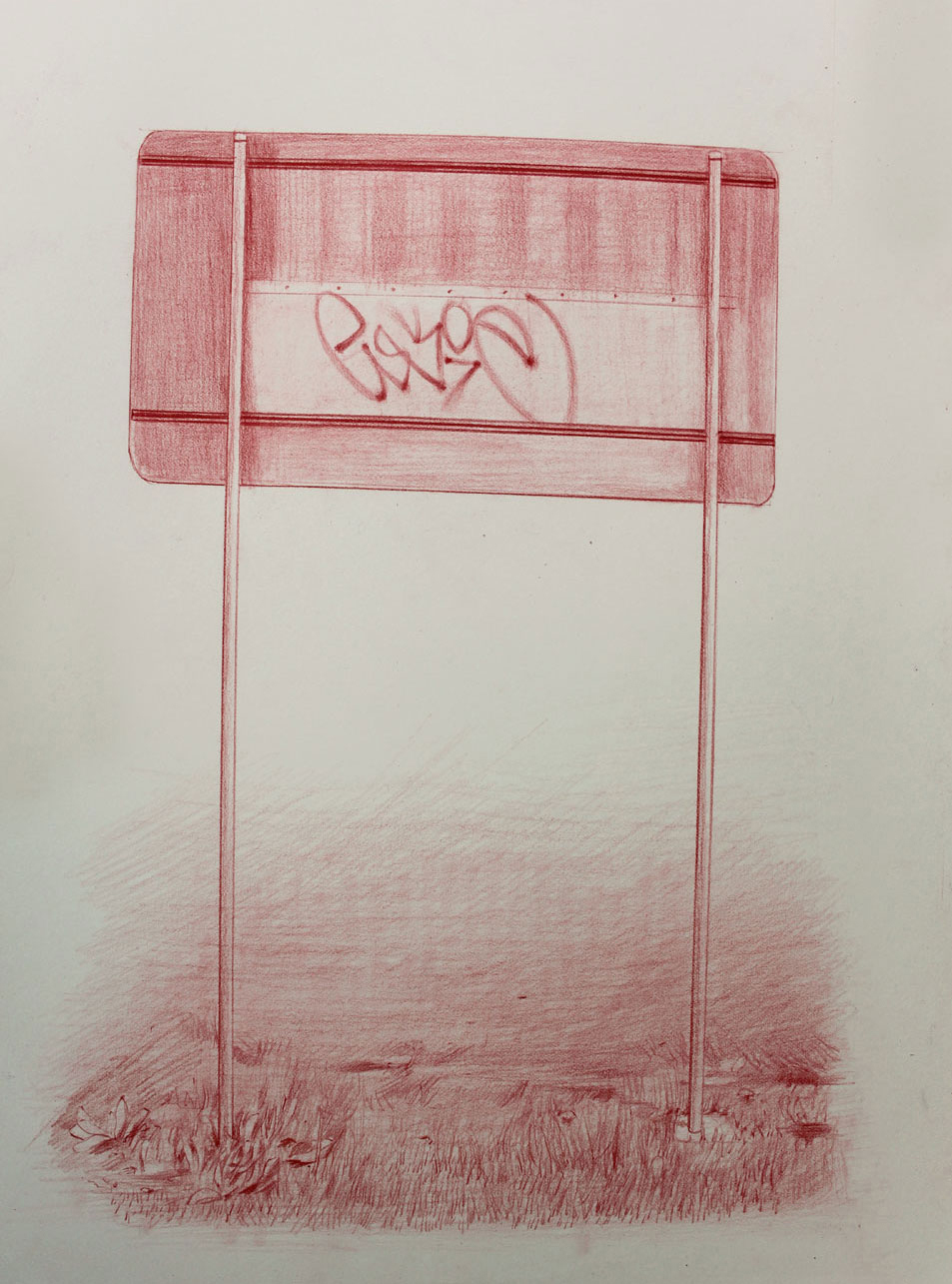 Vin Ryan,  Sign, Sunshine,  2012, pencil on paper, 38 x 28cm