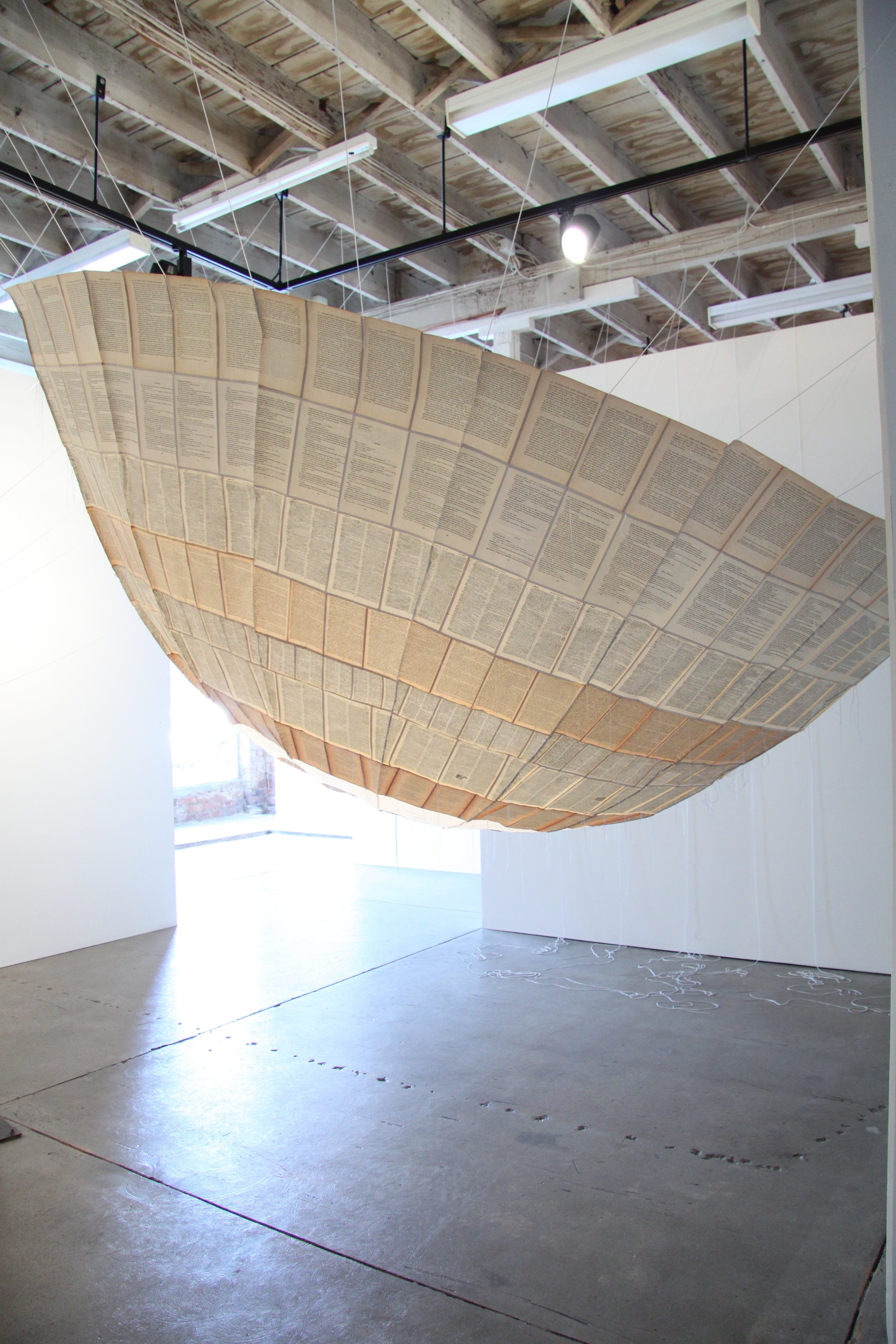Anna Gilby, Inflated, 2009, vintage books, acid free tissue, cotton thread, nylon rope, wax, 350 x 180cm