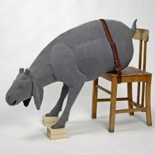 Julia Robinson, Untitled (1), 2009- 2010, flywire, fibreglass, fabric, fixings, thread, cardboard, plaster, timber