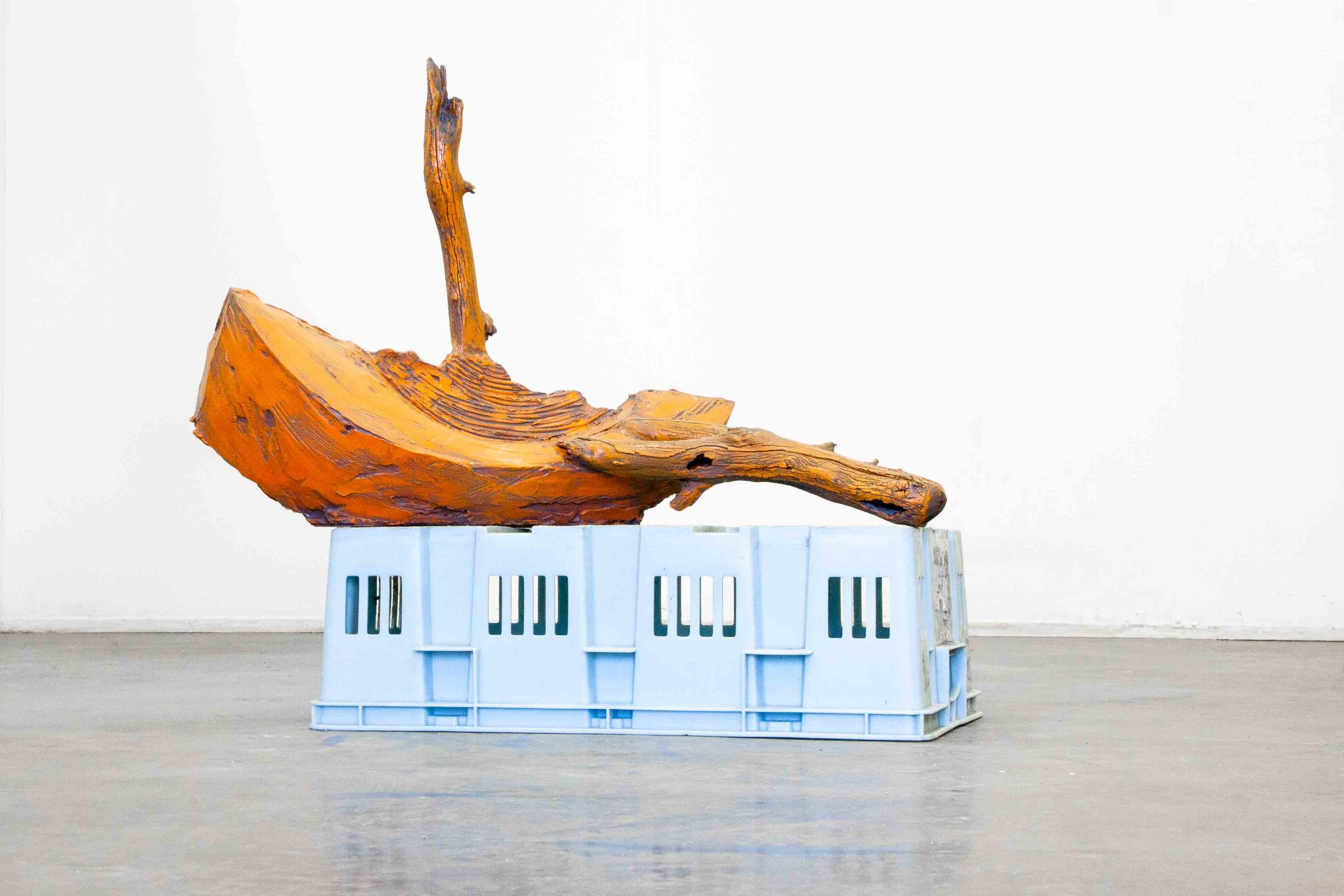 Alex Lyne,  Voyage , 2017, plaster, wood, plastic and automative paint, 64 x 70 x 40 cm