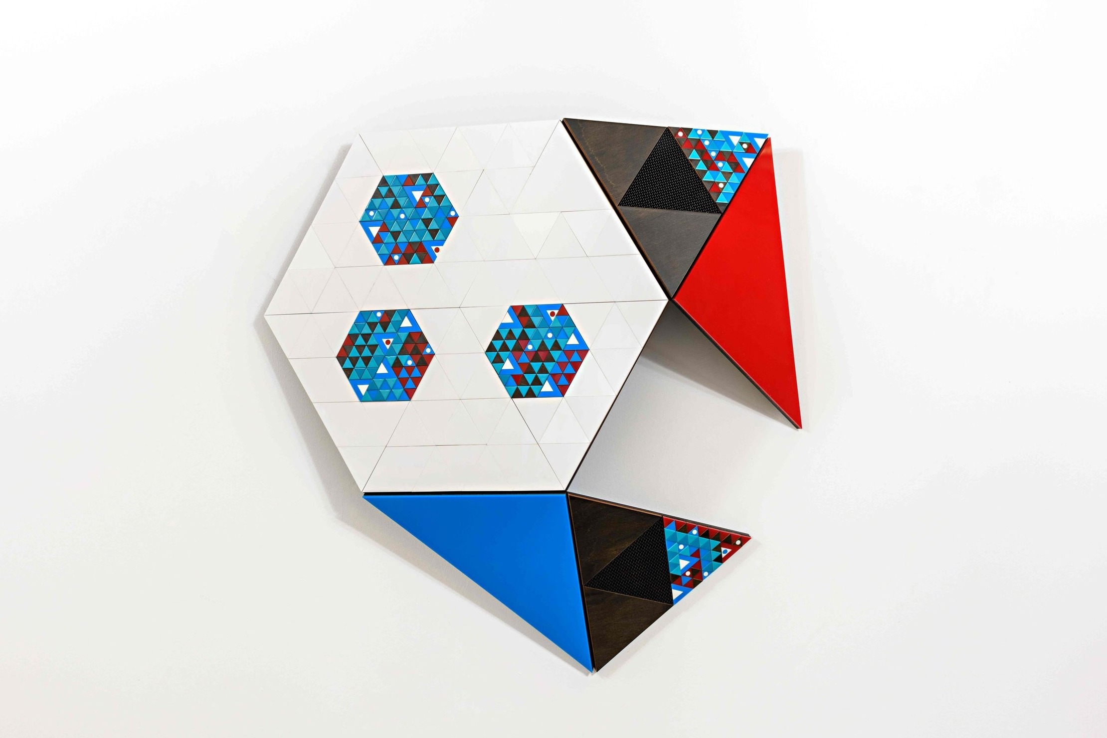Dot Product,  2017 laser cut plywood, hardboard and acrylic with augmented reality 67 x 78 x 14 cm