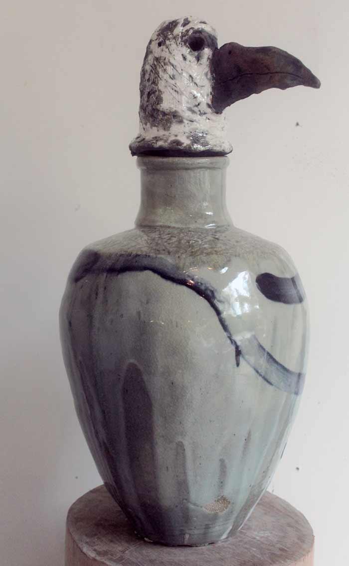 Bird of Pray , 2017, stoneware ceramic glaze, Raku fired head, 55 x 32 x 20cm In collaboration with Andrew Allen
