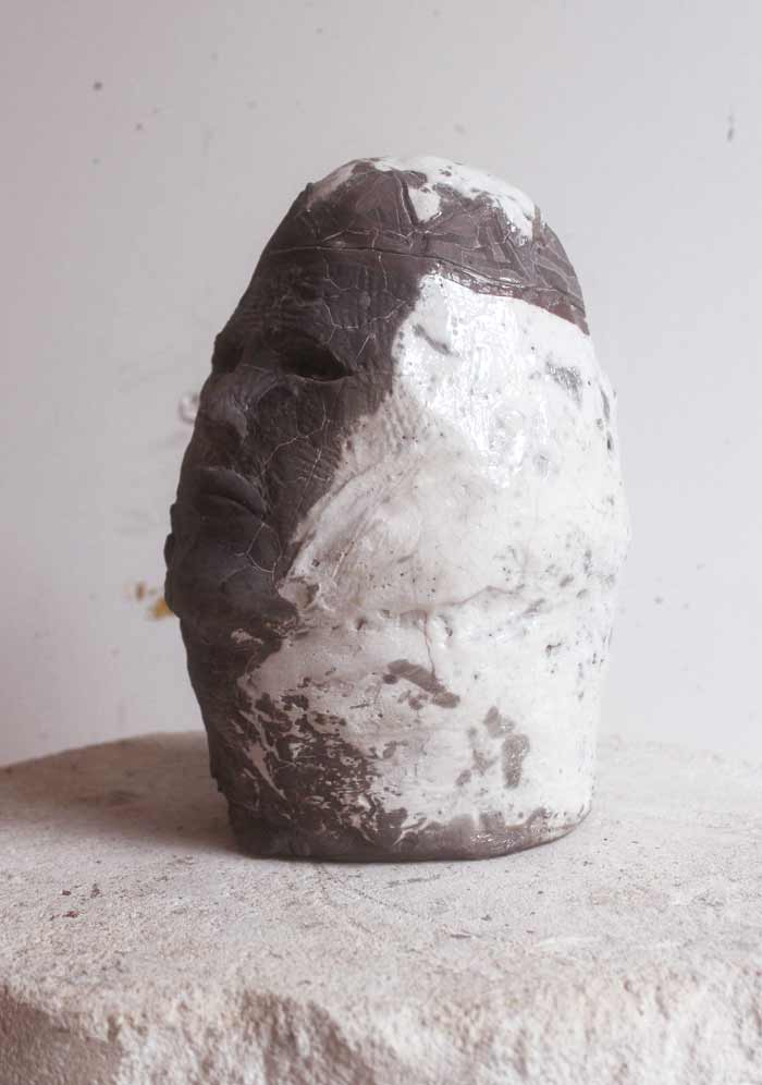 Kings Head , 2017 raku fired ceramic, 24 x 15 x 10cm In collaboration with Andrew Allen