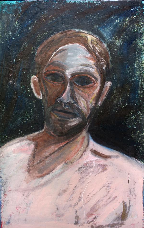 Self Portrait as the Fool , 2017 oil on canvas 76 x 122cm