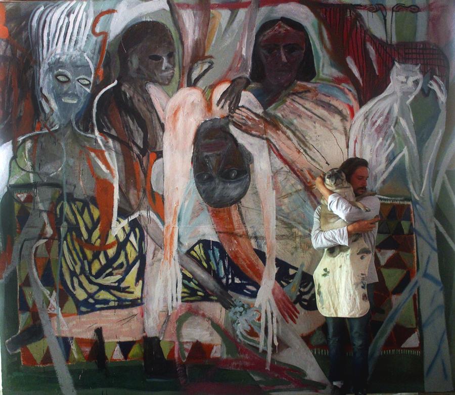 Lovers Eating 'Les Demoiselles d'Avignons' Fruit, 2017, oil, pigment, sand, enamel on canvas 3.5m x 2.95m