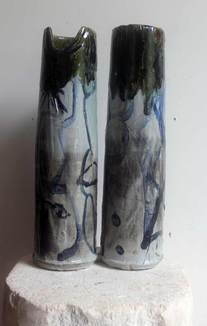 Towers , 2017, stoneware ceramic glaze, 46 x 10cm In collaboration with Andrew Allen