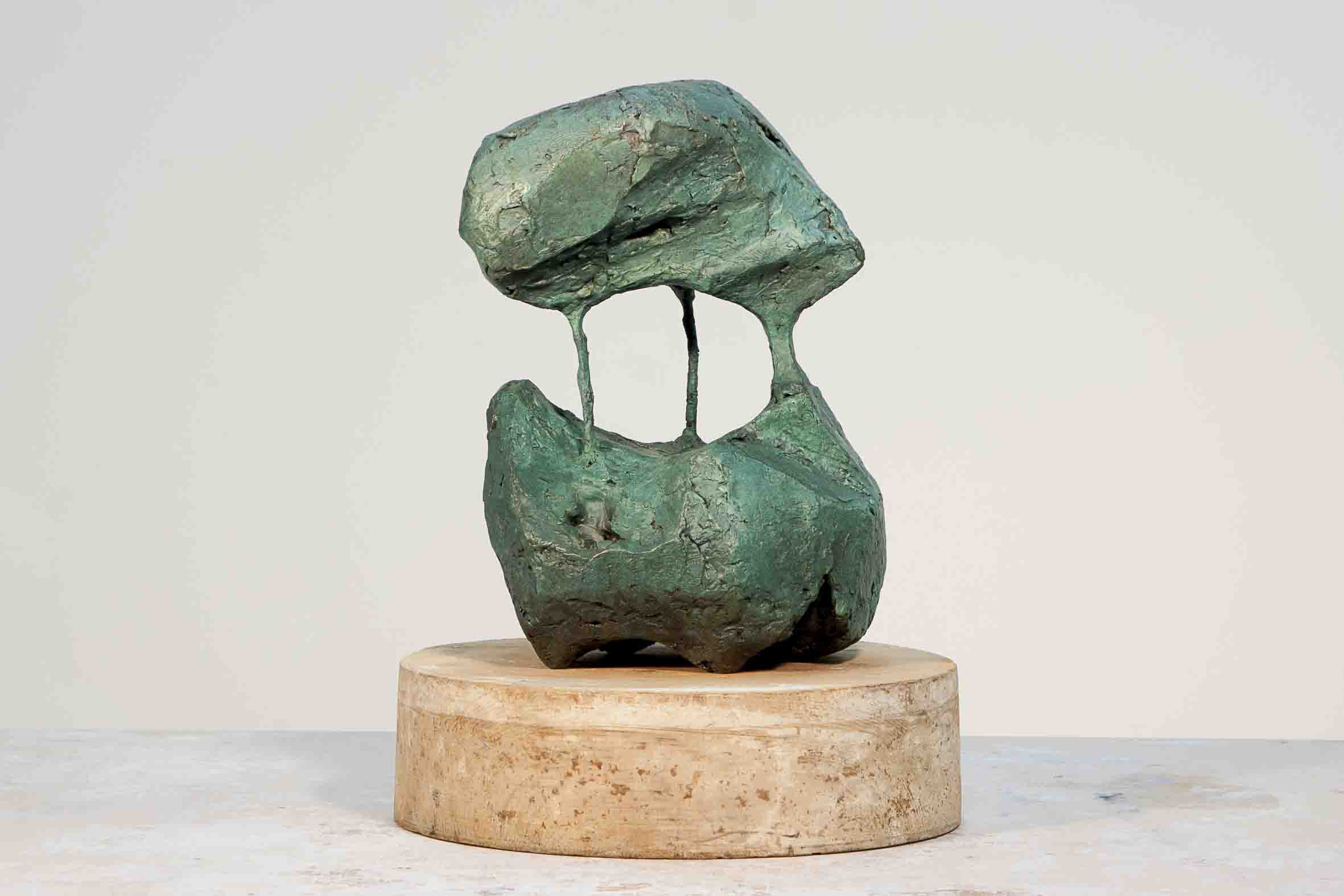 a question of balance II, 2017, patinated bronze and wood, 30 x 24 x 24cm