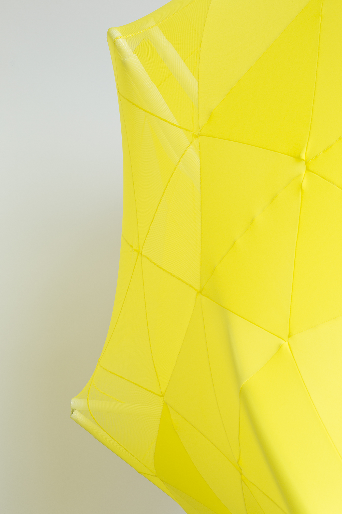 Melanie Irwin, Hemispherical Envelope (Yellow, White), 2017, Found modified metal frames, lycra, cotton twine, electrical tape