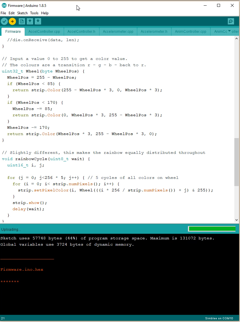 Here is the Arduino environment compiling a program for the die. 132k of program data and 32k of ram!
