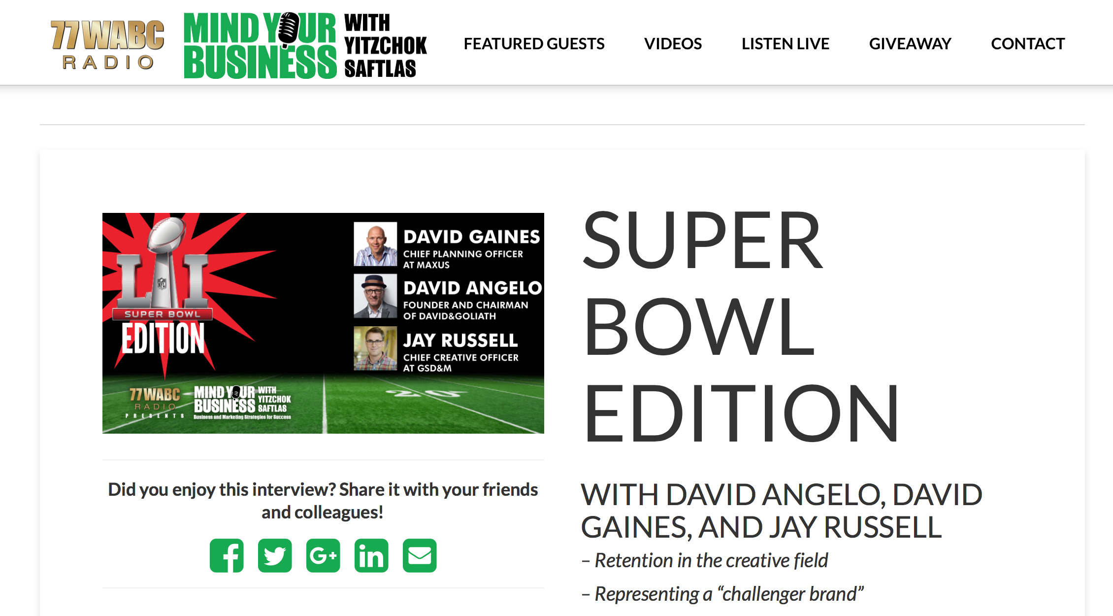 WABC Radio 'Super Bowl'