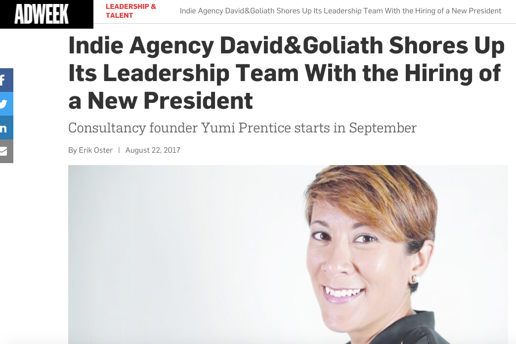 Adweek: Yumi Prentice Joins D&G as President