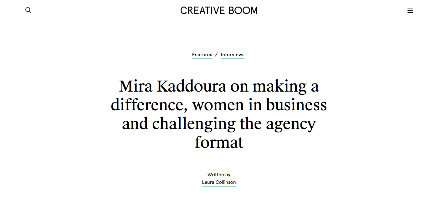 Creative Boom: Interview with Mira Kaddoura