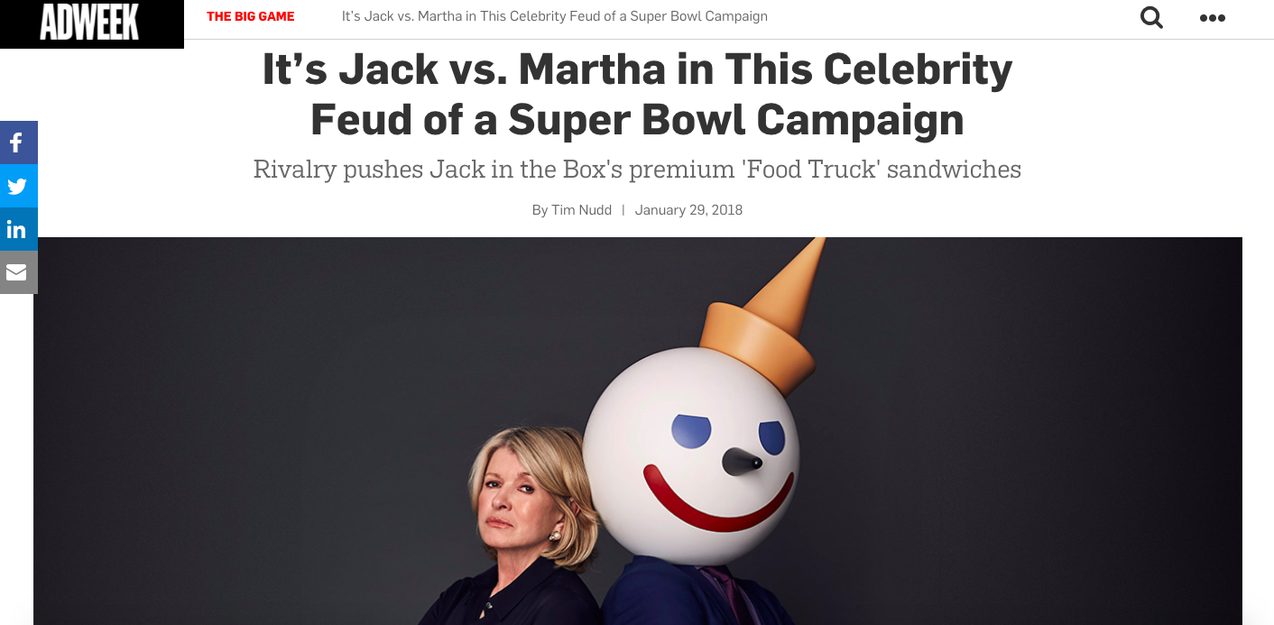 Adweek: Jack in the Box Super Bowl Campaign