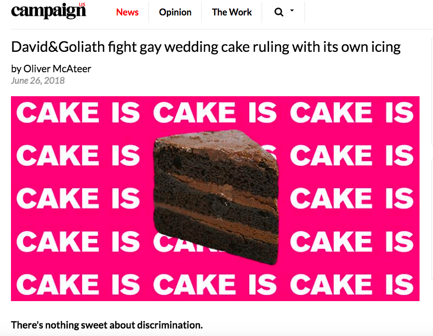 David&Goliath fight gay wedding cake ruling with its own icing