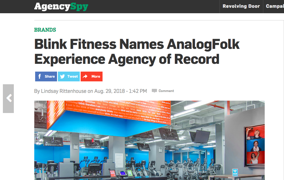 AgencySpy: Blink Fitness Names AnalogFolk Experience AOR