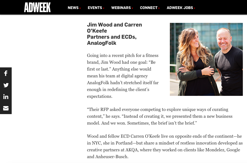 Adweek Creative 100: Jim Wood and Carren O'Keefe Partners and ECDs, AnalogFolk