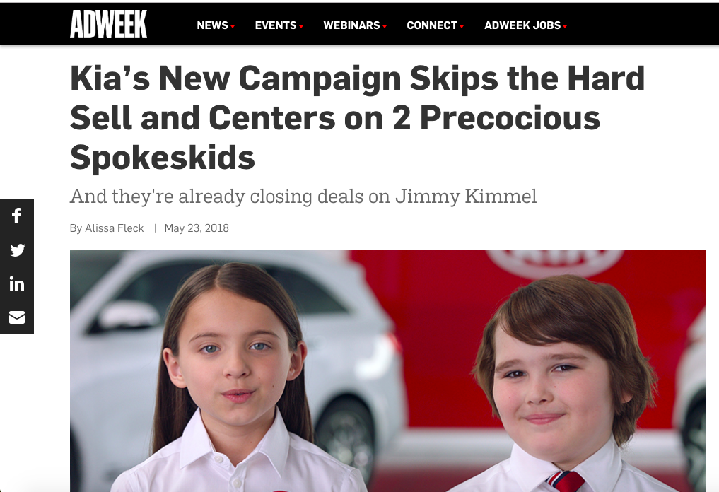 Adweek: Kia's New Campaign Skips the Hard Sell and Centers on 2 Precocious Spokeskids