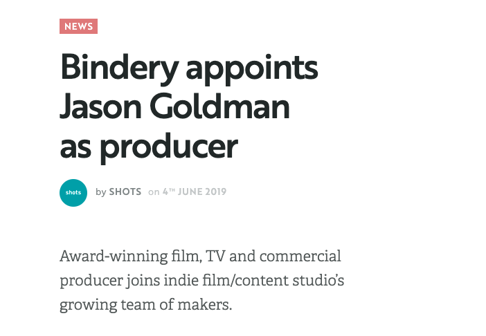 Shots: Jason Goldman Joins Bindery