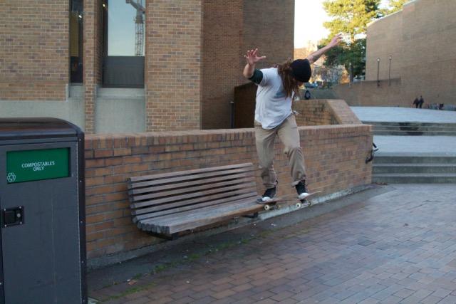 Red Square Bench Backside Tailslide