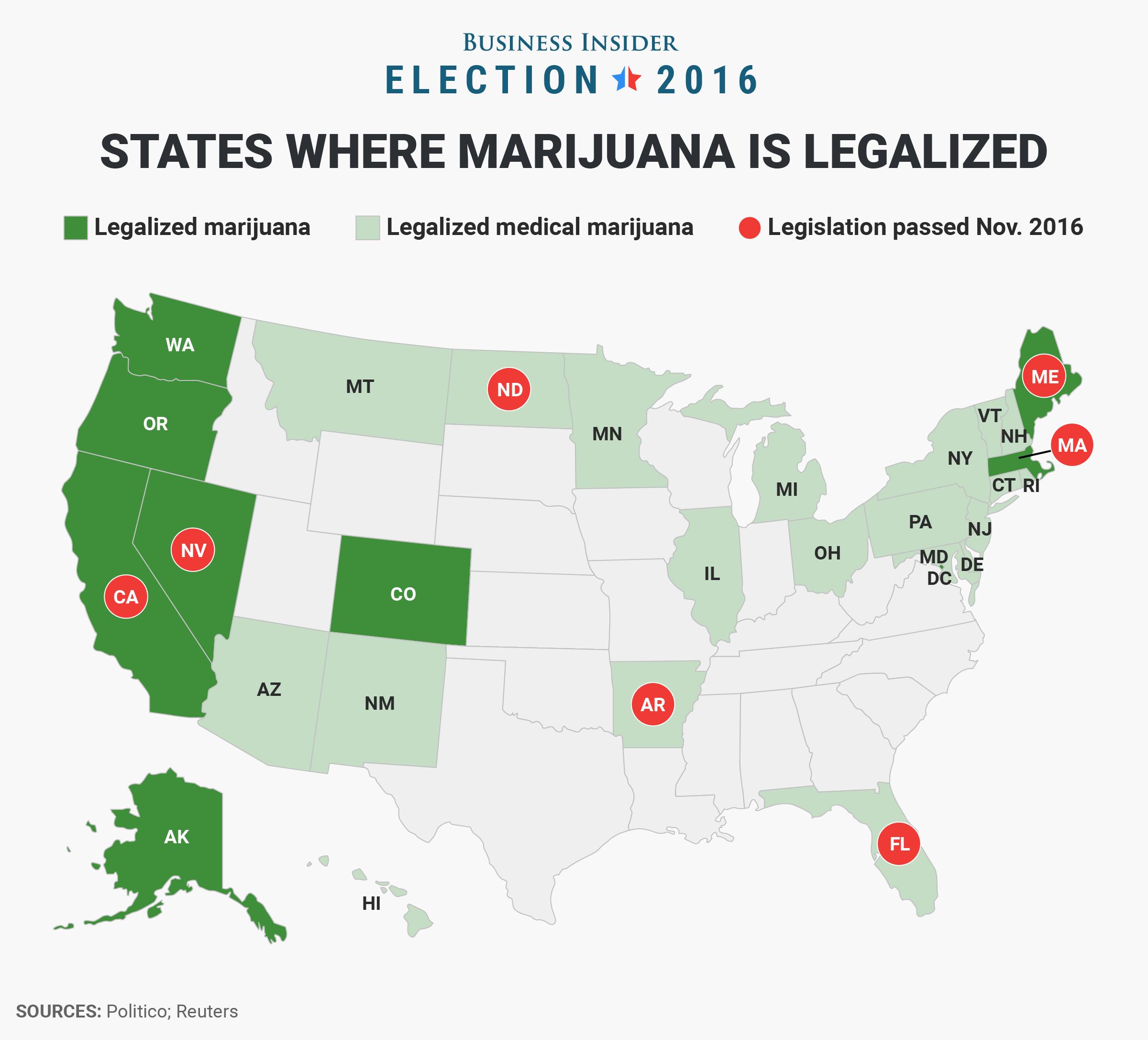 Legal Cannabis Map Jan 2017