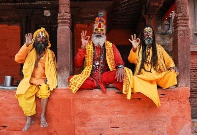 Three Saddhus in Durbar Square By Markus Koljonen