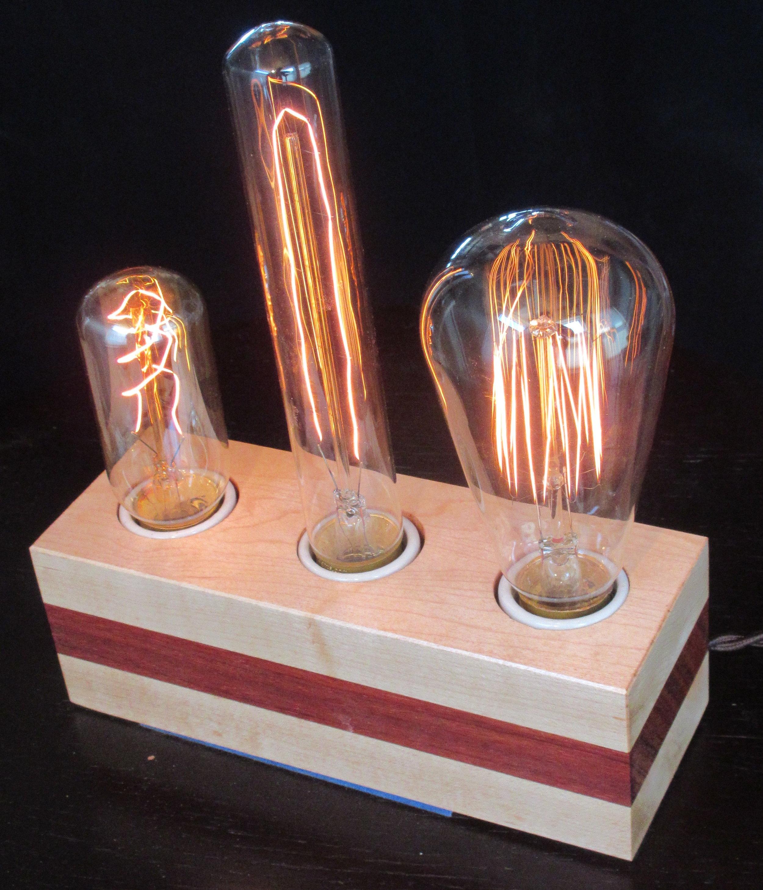 Maple with Horizontal Padauk Stripe - 3 lamps