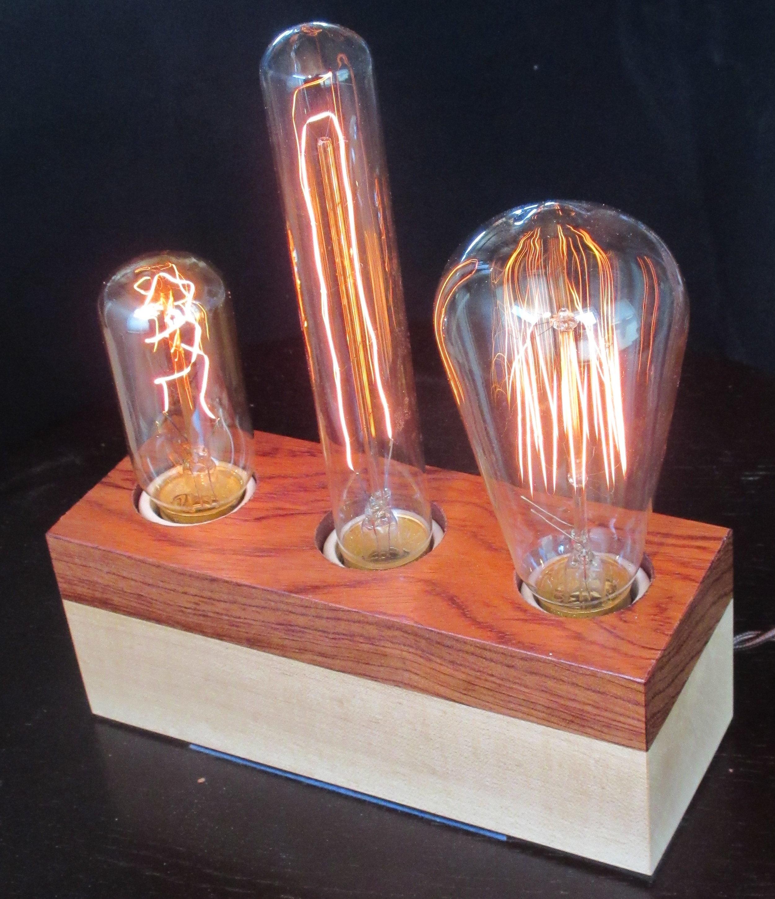 Bubinga and Maple - 3 lamps