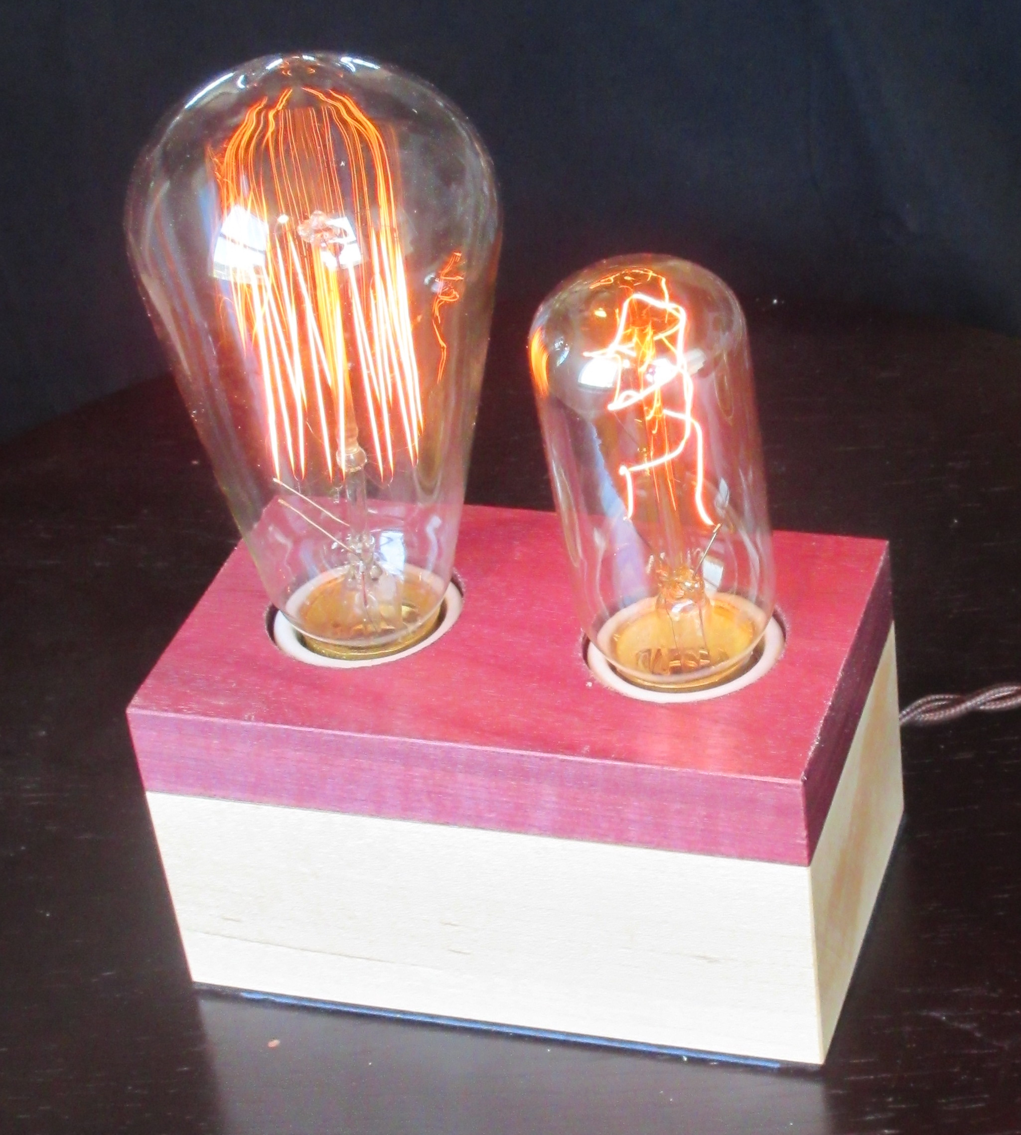 Purpleheart and Maple - 2 lamps