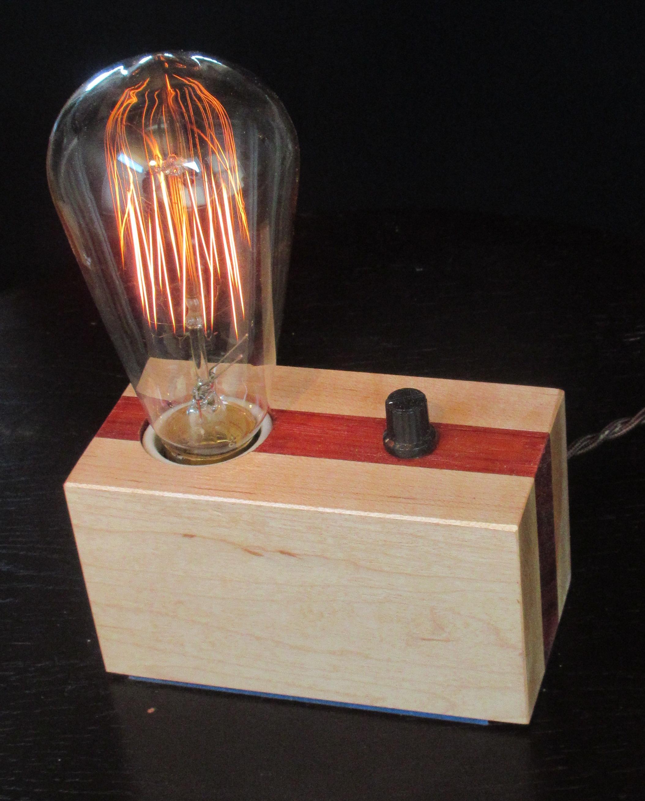 Maple with Vertical Padauk Stripe - 1 lamp