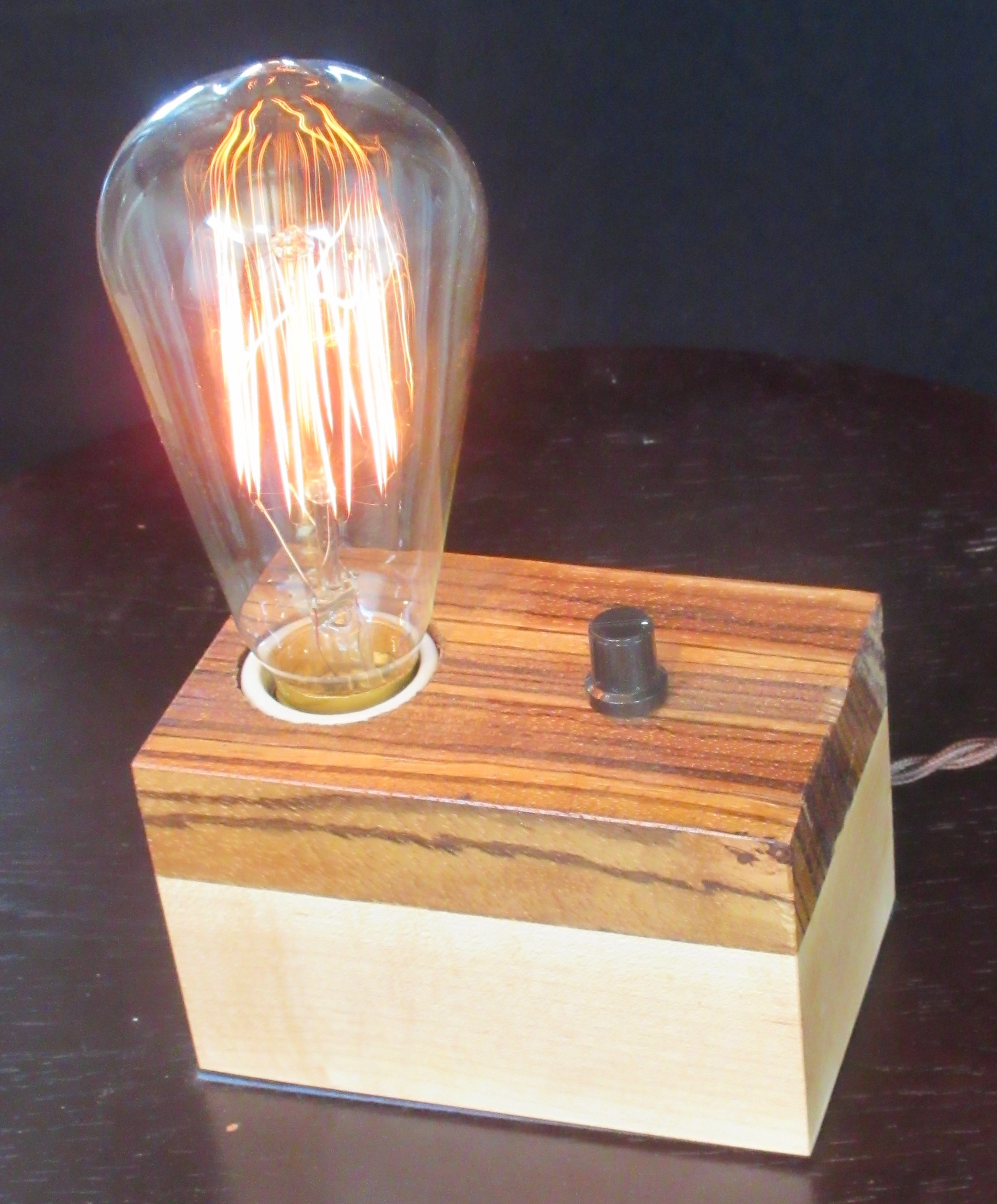 Zebrawood and Maple - 1 lamp