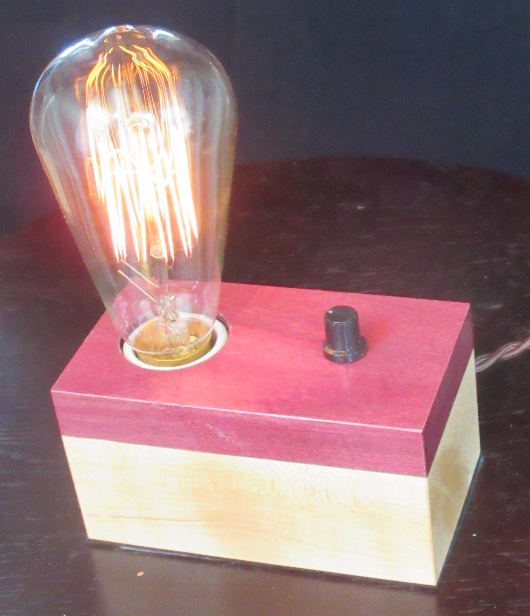 Purpleheart and Maple - 1 lamp