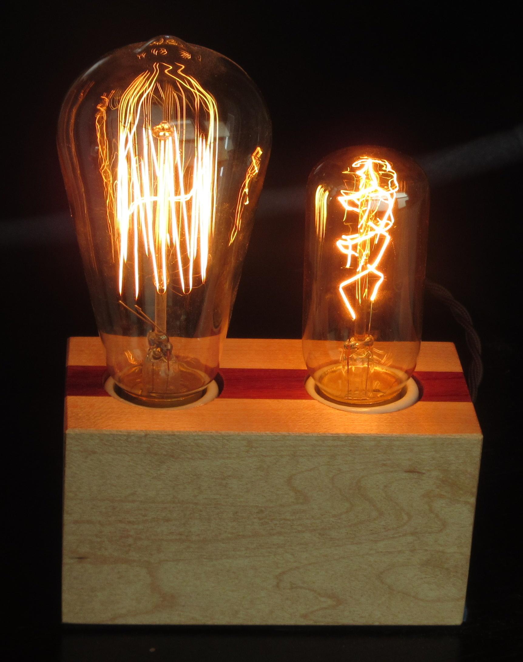 Maple with Vertical Padauk Stripe - 2 lamps